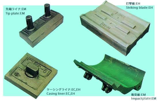 衝撃式クラッシャ用打撃板・衝突板